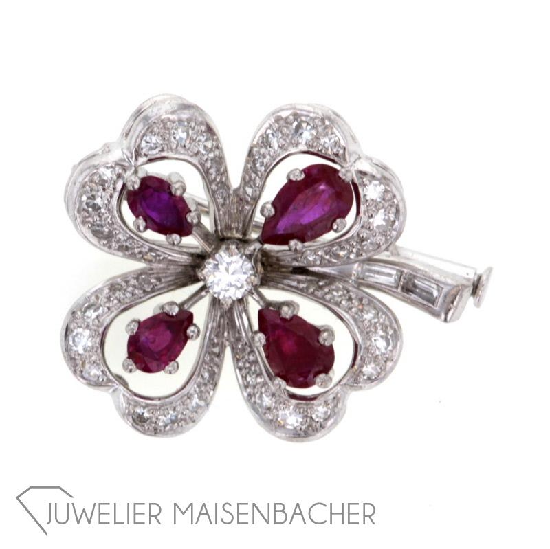 Unikate & Goldschmiedearbeiten Rubin Diamant Brosche Mit Brillanten Brillianten Und Rubinen 750 Weißgold Nade*