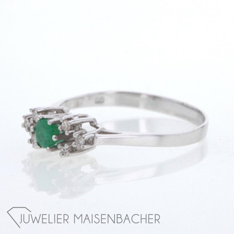 smaragdring mit diamanten jetzt online kaufen. Black Bedroom Furniture Sets. Home Design Ideas